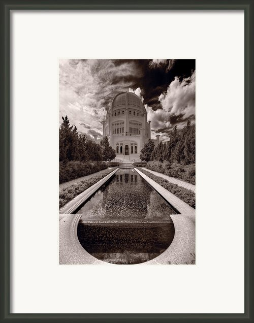 Bahai Temple Reflecting Pool Framed Print By Steve Gadomski
