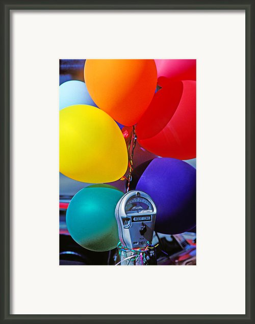 Balloons Tied To Parking Meter Framed Print By Garry Gay