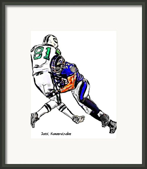Baltimore Ravens  Ray Lewis - New York Jets Dustin Keller Framed Print By Jack Kurzenknabe