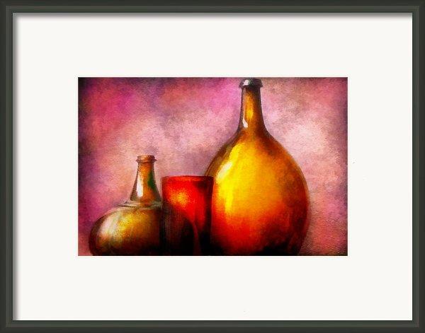 Bar - Bottles - A Still Life Of Bottles Framed Print By Mike Savad