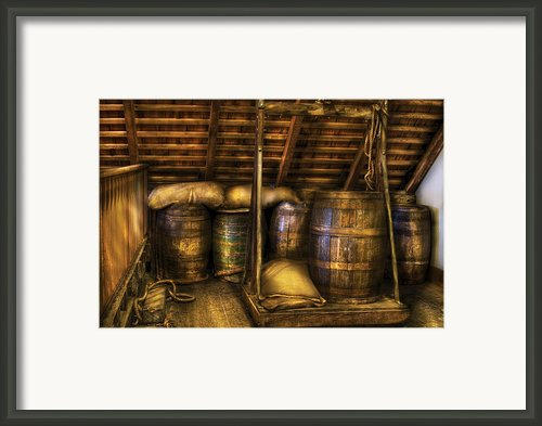 Bar - Wine Barrels Framed Print By Mike Savad