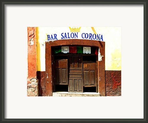 Bar Salon Corona Framed Print By Olden Mexico