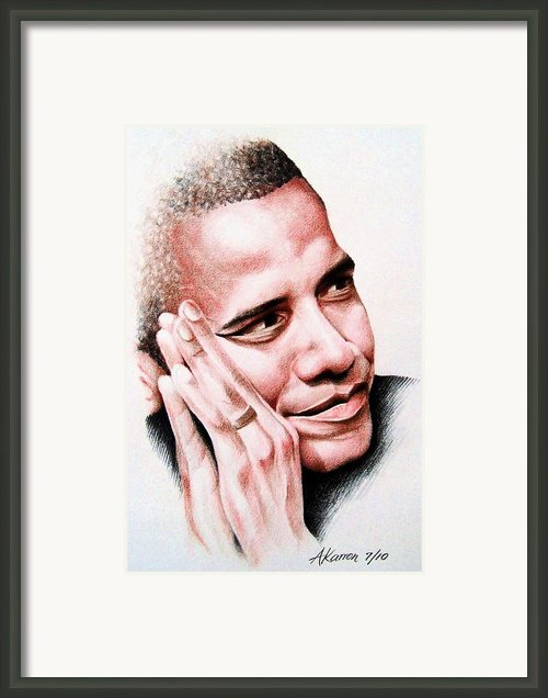 Barack Obama Framed Print By A Karron
