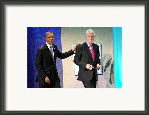 Barack Obama, Bill Clinton At A Public Framed Print By Everett