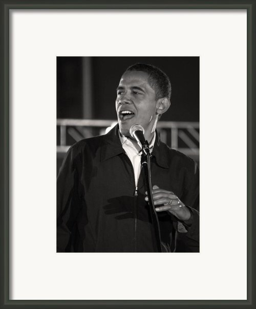 Barack Obama In Cleveland Framed Print By Brian M Lumley