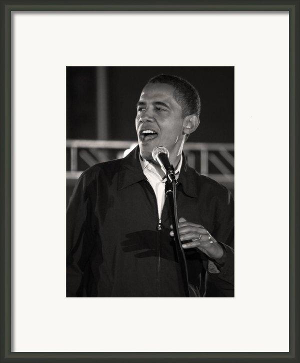 Barack Obama In Cleveland Framed Print By Brian M Lumley