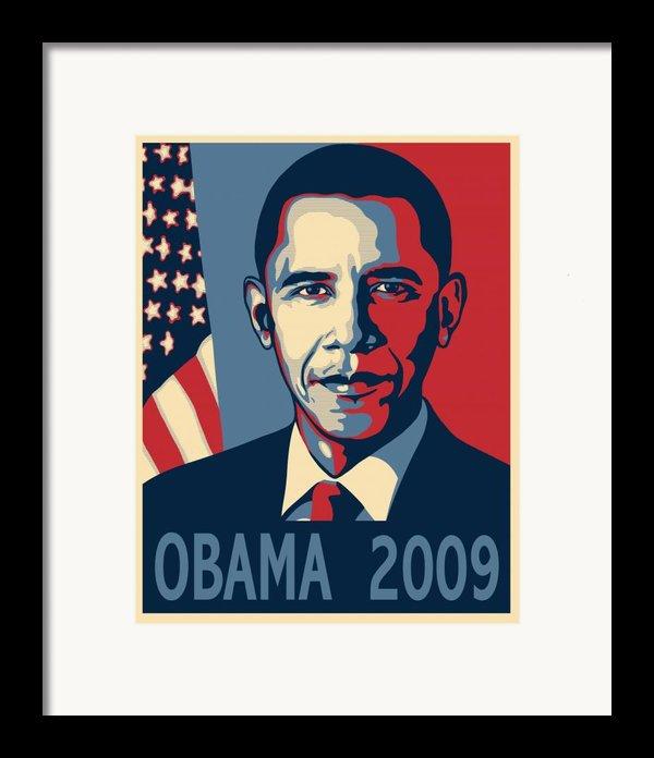 Barack Obama Presidential Poster Framed Print By Sue  Brehant