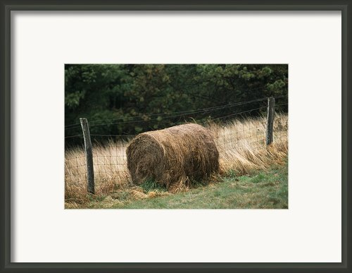 Barbed Wire Fence And Hay Roll Framed Print By Raymond Gehman
