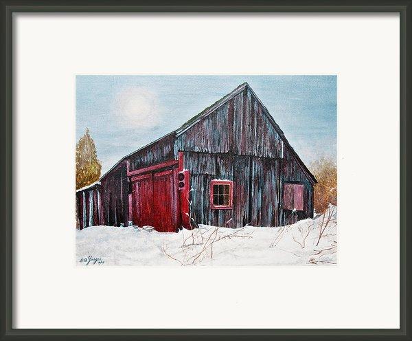 Barn In Snow Southbury Ct Framed Print By Stuart B Yaeger