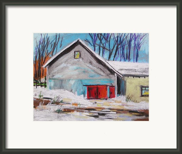 Barnyard In Winter Framed Print By John  Williams