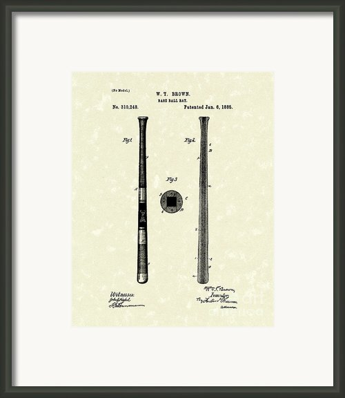 Baseball Bat 1885 Patent Art Framed Print By Prior Art Design