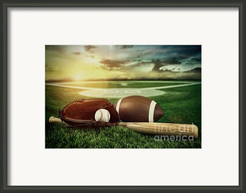 Baseball  Bat  And Mitt In Field At Sunset Framed Print By Sandra Cunningham
