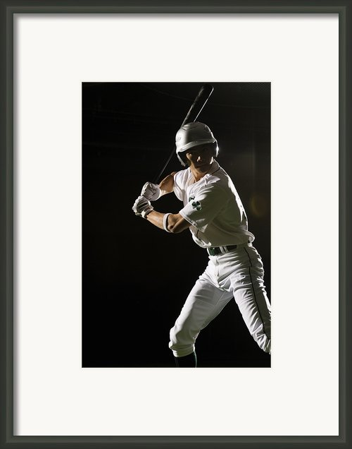 Baseball Batter In Batting Stance, Close-up Framed Print By Pm Images