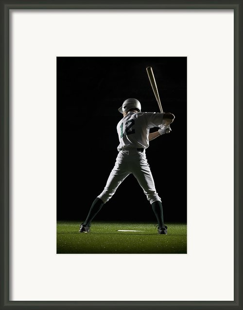 Baseball Batter In Batting Stance, Rear View Framed Print By Pm Images