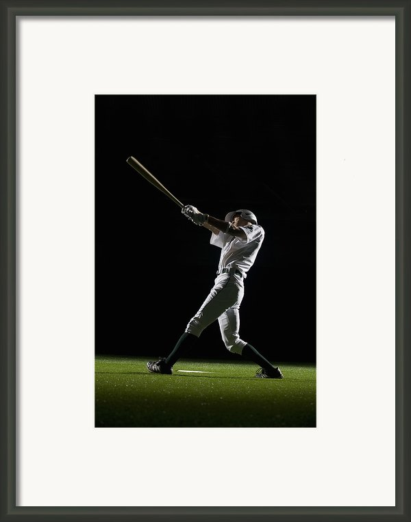Baseball Batter Swinging Bat, Side View Framed Print By Pm Images