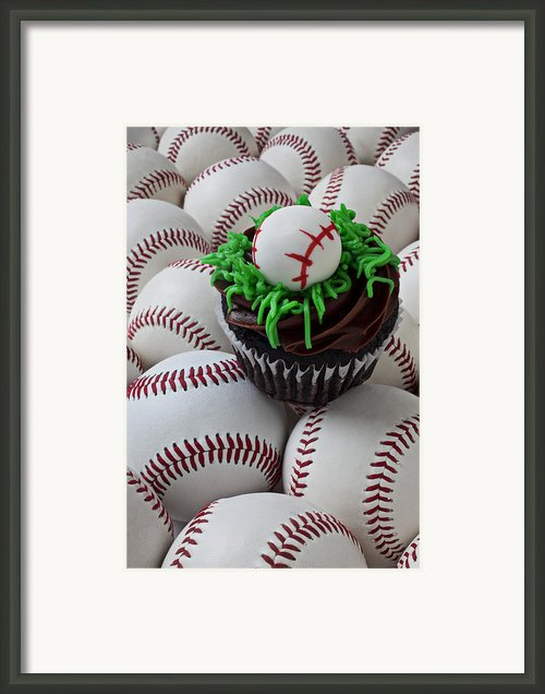 Baseball Cupcake Framed Print By Garry Gay