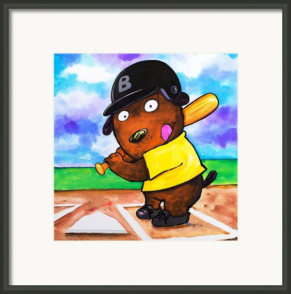 Baseball Dog Framed Print By Scott Nelson