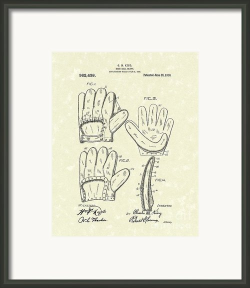 Baseball Glove 1910 Patent Art Framed Print By Prior Art Design