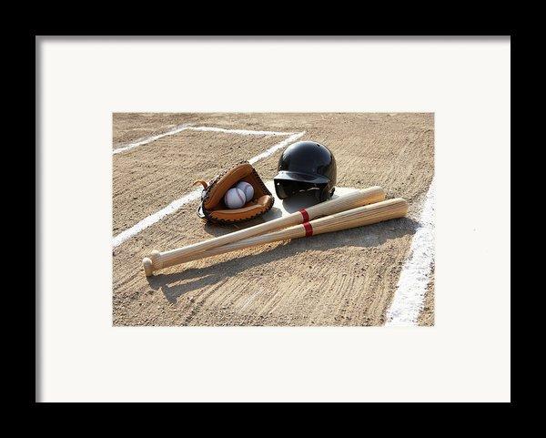 Baseball Glove, Balls, Bats And Baseball Helmet At Home Plate Framed Print By Thomas Northcut