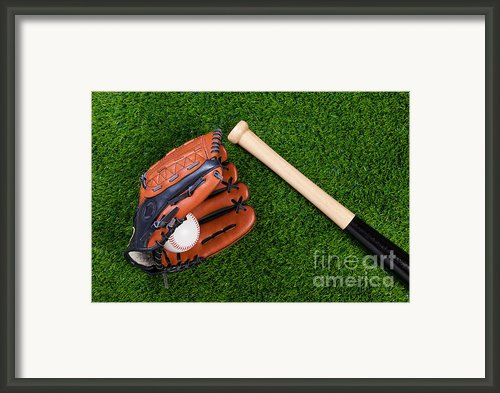 Baseball Glove Bat And Ball On Grass Framed Print By Richard Thomas