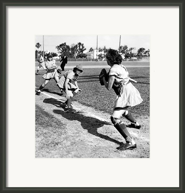 Baseball, Kenosha Comets Play Framed Print By Everett