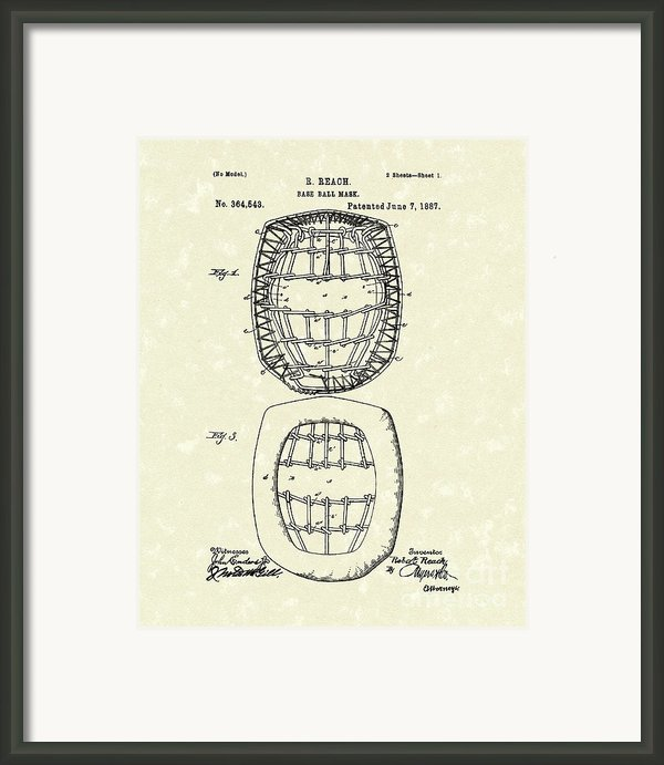 Baseball Mask 1887 Patent Art Framed Print By Prior Art Design