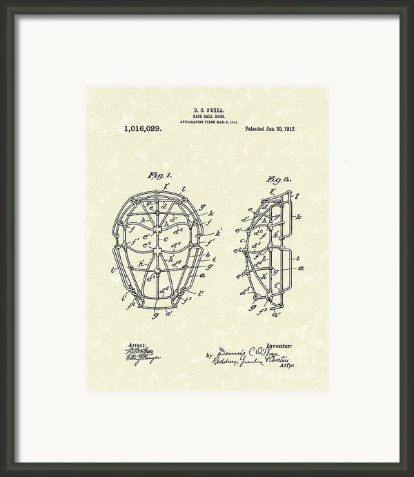 Baseball Mask 1912 Patent Art Framed Print By Prior Art Design