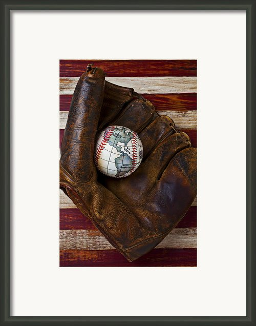 Baseball Mitt With Earth Baseball Framed Print By Garry Gay