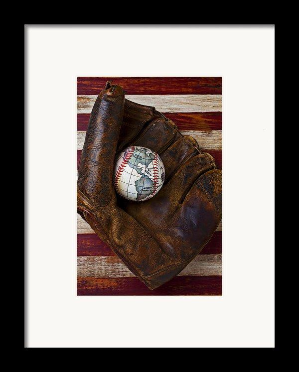 Baseball Mitt With Earth Baseball Framed Print By Garry Gay