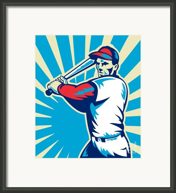 Baseball Player Batting Retro Framed Print By Aloysius Patrimonio