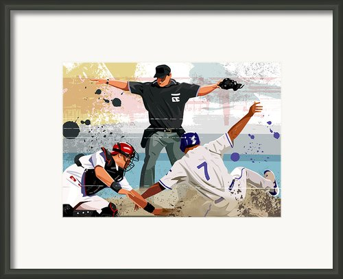 Baseball Player Safe At Home Plate Framed Print By Greg Paprocki