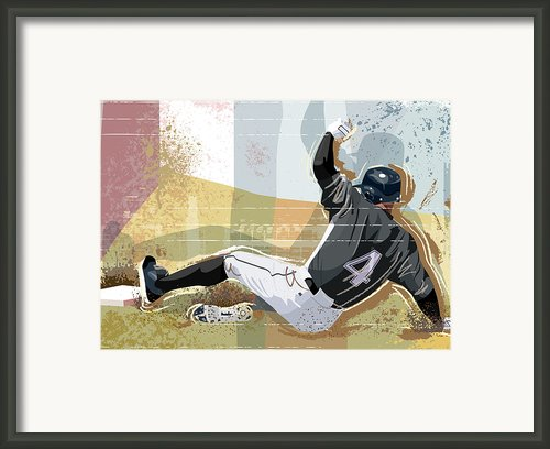 Baseball Player Sliding Into Base Framed Print By Greg Paprocki