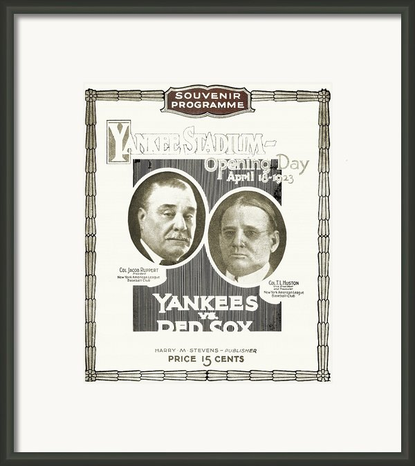 Baseball Program, 1923 Framed Print By Granger