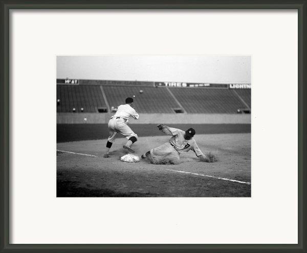 Baseball. Ty Cobb Safe At Third Framed Print By Everett