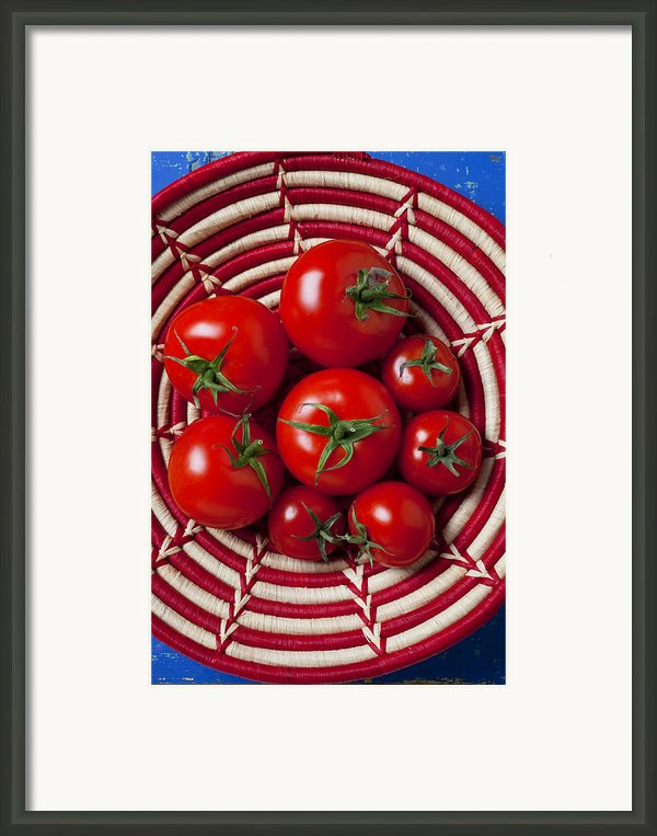 Basket Full Of Red Tomatoes  Framed Print By Garry Gay