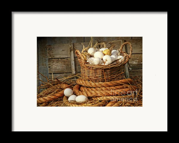 Basket Of Eggs On Straw Framed Print By Sandra Cunningham