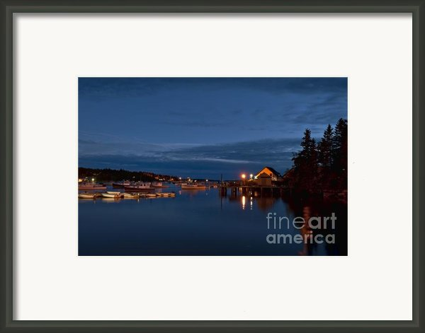 Bass Harbor At Night Framed Print By John Greim