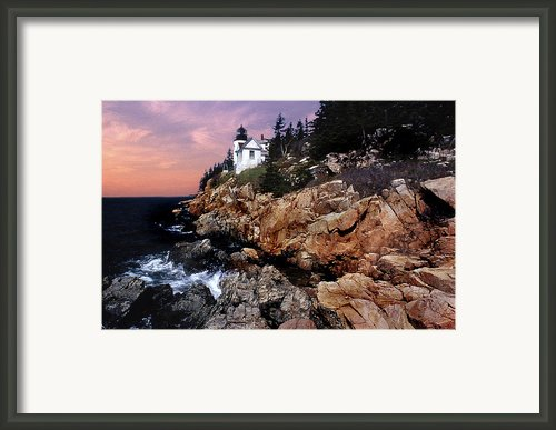 Bass Harbor Head Lighthouse In Maine Framed Print By Skip Willits