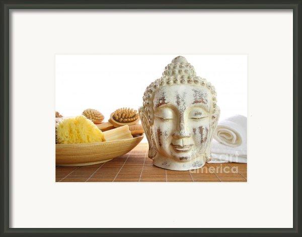 Bath Accessories With Buddha Statue Framed Print By Sandra Cunningham