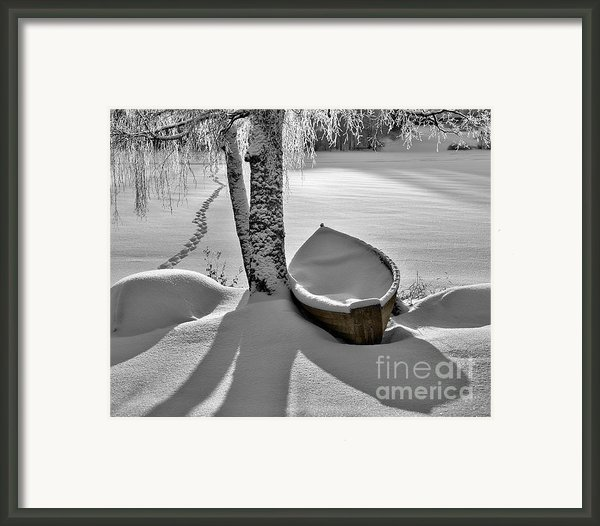 Bath And Snowy Rowboat Framed Print By Ari Salmela