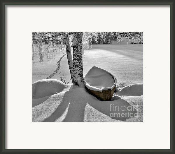 Bath And Snowy Rowboat Framed Print By Ari Salmela