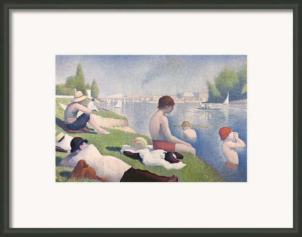 Bathers At Asnieres Framed Print By Georges Pierre Seurat