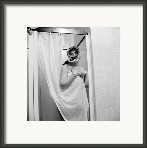 Bathroom Diving Framed Print By Sherman