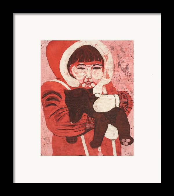 Batik -girl W Bear- Framed Print By Lisa Kramer