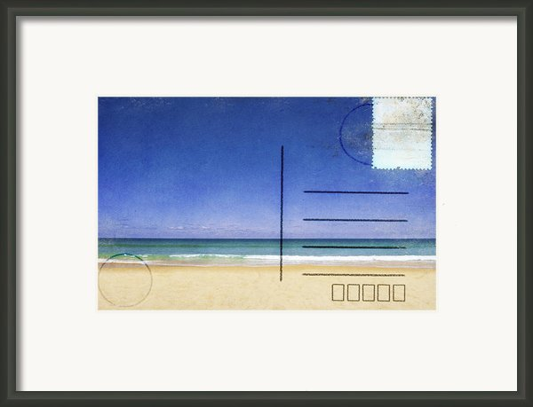 Beach And Blue Sky On Postcard  Framed Print By Setsiri Silapasuwanchai