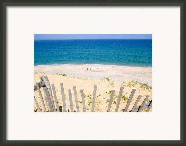 Beach Fence And Ocean Cape Cod Framed Print By Matt Suess