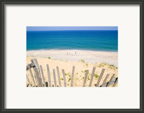 Beach Fence And Ocean Cape Cod Framed Print By Matt Suess