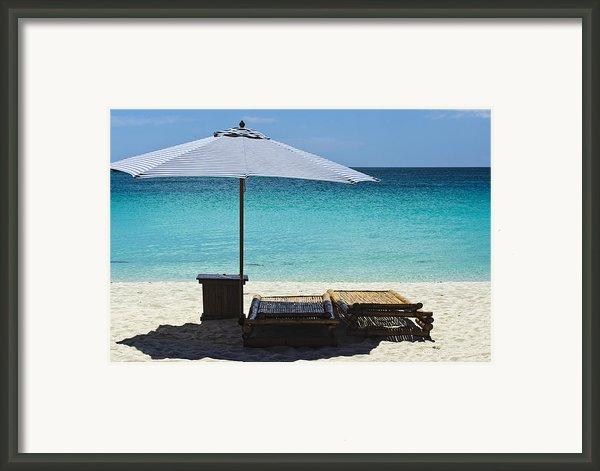 Beach Scene With Lounger And Umbrella Framed Print By Paul W Sharpe Aka Wizard Of Wonders