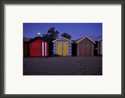 Beach Sheds Framed Print By Nishan De Silva