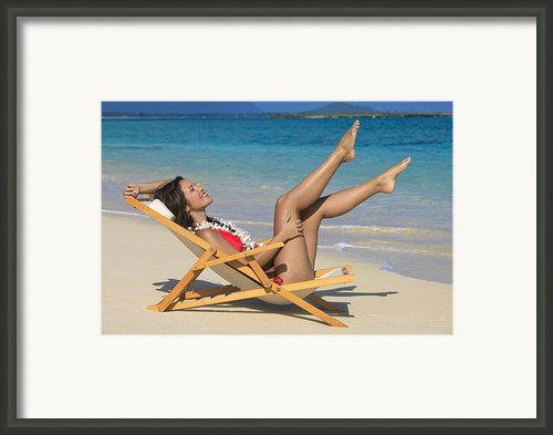 Beach Stretching Ii Framed Print By Tomas Del Amo
